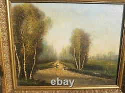 Painting Ancient Landscape Oil On Canvas Xixth Signed