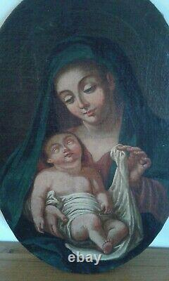 Painting Ancient Oil On Canvas The Virgin And The Child. Late 18th Century