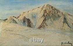Painting, Ancient Painting Oil On Canvas 19th Signed, Landscape, Mountain, Winter