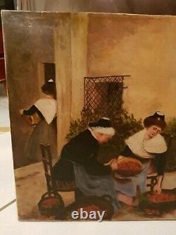 Painting Ancient Scene Of Life, Oil On Canvas Late 19th Century