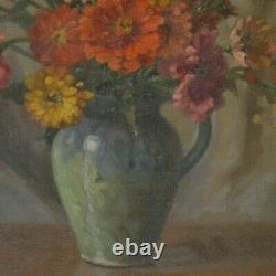 Painting Ancient Still Life Bouquet Of Oil Flowers On Canvas Louis Adami