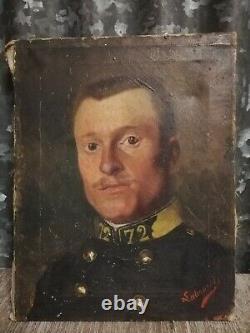 Painting Ancient XIX Militaria Military Portrait Oil On Canvas