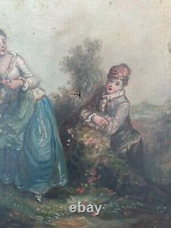 Painting Ancient XIX Th S, Romantic Scene Oil On Canvas