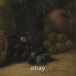 Painting Oil On Cardboard Still Life Fruits Style Old Frame 900