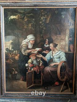 Painting Old Dutch School Old Painting Oil On Canvas Holland