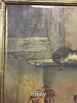 Painting Old Oil On Canvas Animals Dogs Cats Nineteenth