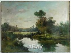 Painting Old Oil On Canvas Landscape Lacustrine Nineteenth Animated 19th (signed)