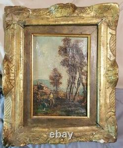 Painting Old Scene Rider 18th Century Oil On Canvas Oil On Canvas Painting
