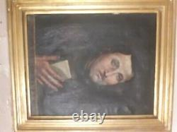 Painting Painting Oil On Canvas Portrait Old Frame Gilded Wood