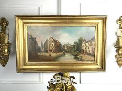 Painting / Painting / Oil On Canvas Scene Old Villager Box