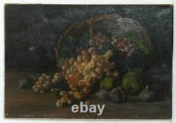 Painting Painting Old Oil On Canvas Dead Nature, Fruits, Grape, Figs