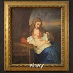 Painting Painting On Canvas With Virgin Religious Frame With Old Style Child