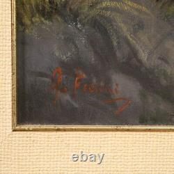 Painting Signed Marine Painting Landscape Oil On Canvas Frame Old Style 900