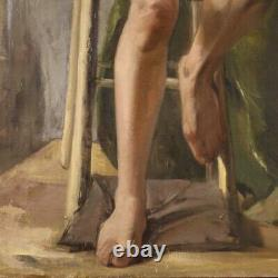 Painting Signed Oil Painting On Canvas Nude Female Impressionist Old Style