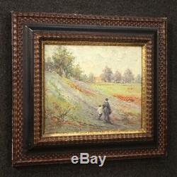 Painting Signed Oil Painting On Landscape Tablet With Old Style Characters
