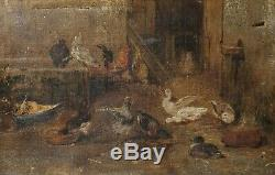 Painting Table Old Oil On Canvas Xix, Lower Short, Hens, Animals