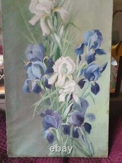 Pair Large Paintings Old Oil Painting On Canvas Still Life Irises