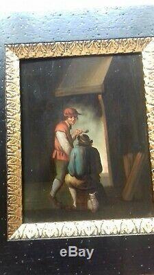 Pair Of Old Paintings, Oil On Wood, Flemish School, Painting, Painting