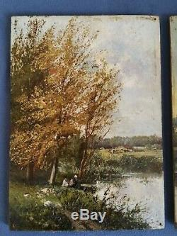 +++ Pair Of Old Paintings On Panel School Barbizon Nineteenth +++