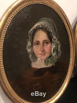 Pair Portrait Old Oil On Canvas Framing Wood Dore