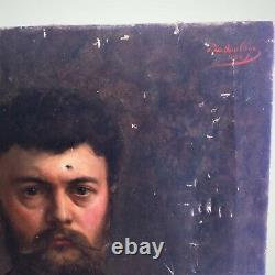 Paul De La Boulaye Former Portrait Man Oil On Canvas 19th To Restore