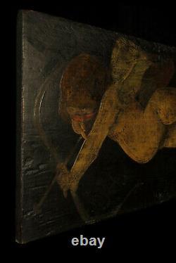 Popular Art, Ancient Oil Painting On Panel, Cupid C. 1850 / Angelot