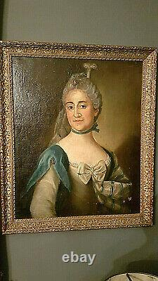 Portrait Ancial Table Female Epoque 18th Oil On Toile