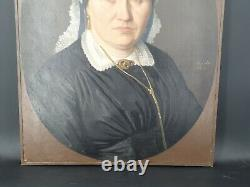 Portrait Of Ancient Woman, Oil On Canvas Signed, 19th Century