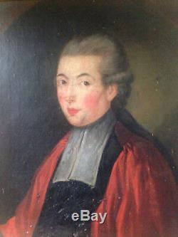 Portrait Of Magistrate Noble Man Oil On Canvas Old XVIII Lawyer
