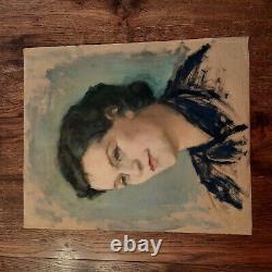 Portrait Oil On Kraft Paper Ancient Table