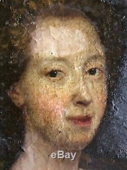 Portrait Old Woman Oil On Canvas Period End 17th 17th