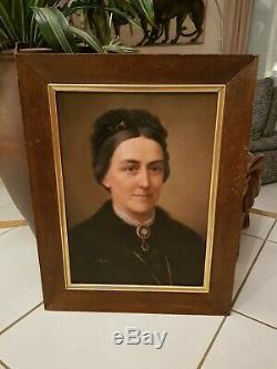 Portrait Old Woman, Oil On Canvas Time XIX S