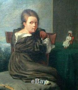 Portrait Young Girl With The Doll Child Toy XIX Oil On Canvas Old Noble