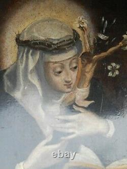Rare Ex Tableau Peinture On Cuivre Hsc Marie Madeleine Penitente XVIII 1