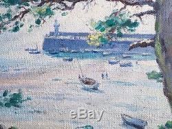 Rare Oil On Old Panel Léon Hamonet, Brittany Erquy, Marine