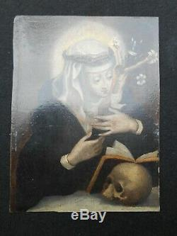 Rare Old Table Painting On Copper Hsc Mary Magdalene Penitent XVIII