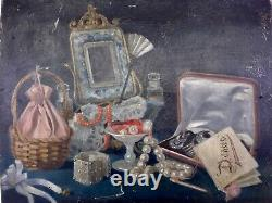 Rare Still Life With Jewelry Old Painting Oil On Canvas 19th Unsigned