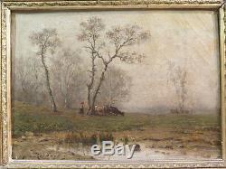 Richard Ancient Little Oil On Canvas Landscape Animal Woman Epoque XIX