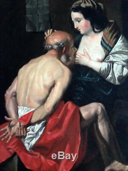 Roman Charity Superb Oil On Canvas Old XIX Erotic Curiosa Nude