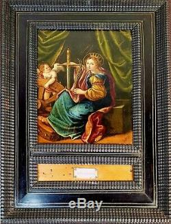 Saint Brigitte. Oil On Copper. Old Frame. Italy Flanders. Xvii-xviii