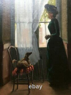Signed Old Painting, Large Oil On Canvas, Window Woman, Box, 19th