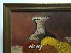 Signed Old Painting, Oil On Canvas Cardboard, Still Life, Box, 20th