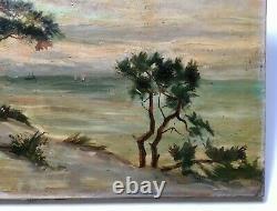 Signed Old Painting, Oil On Canvas, Southwest Coastal Landscape, Dune, 19th