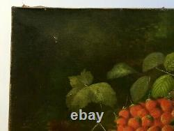 Signed Old Painting, Oil On Canvas, Still Life With Fruit, Late 19th Century