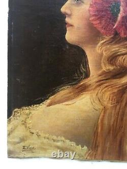 Signed Old Painting, Portrait Of A Woman, Oil On Marbled Canvas, Early 20th