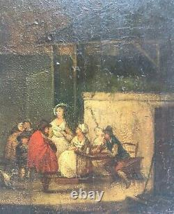 Small Antique Painting, Tavern Scene, Oil On Panel, Teniers, 18th