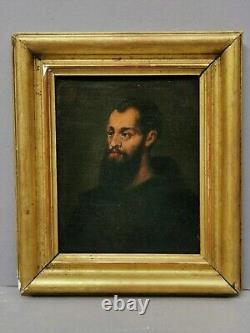 Small Old Painting / Oil On Canvas. Portrait Of A Monk / Saint