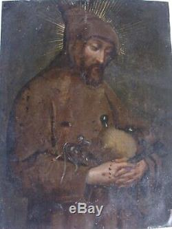 St. Francis Of Assisi In Old Paint On Copper Prayer 17th 18th