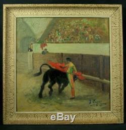 Superb Ancient Oil Painting On Canvas Corrida Toreador Torero Signed