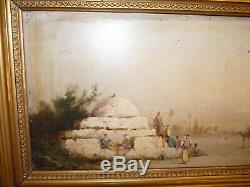 Superb Old Painting Oil Painting On Wood Landscape Orientalist Louis Clanet